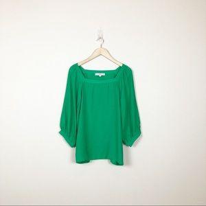 loft • green square neckline balloon sleeve blouse